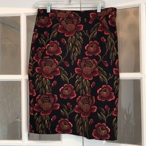 Ann Taylor Navy Blue/Red/Yellow Skirt Size 10